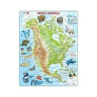 Larsen - Puzzle maxi Harta fizica si animalele din America de Nord, orientare tip portret, 66 de piese,