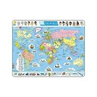 Larsen - Puzzle maxi Harta politica a lumii  orientare tip vedere  107 piese