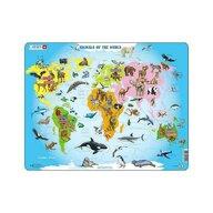 Larsen - Puzzle maxi Lumea animalelor, orientare tip vedere, 28 de piese,