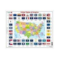 Larsen - Puzzle maxi Statele Unite ale Americii cu steaguri  orientare tip vedere  70 de piese