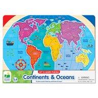 THE LEARNING JOURNEY - Puzzle educativ Sa invatam continentele si oceanele Puzzle Copii, piese 22