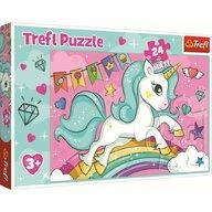Trefl - Puzzle personaje Unicornul curcubeu Maxi Puzzle Copii, pcs  24, Multicolor