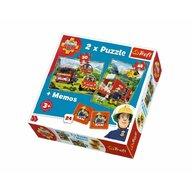 Trefl - Puzzle personaje Memo Pompierii in actiune 2 in 1 Puzzle Copii, pcs  78, Multicolor