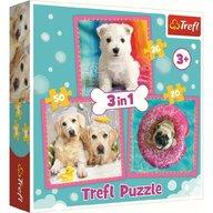 Trefl - Puzzle animale Catelusi la baita 3 in 1 Puzzle Copii, pcs  106, Multicolor