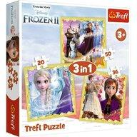 Trefl - Puzzle personaje Frozen 2 Ana si Elsa 3 in 1 Puzzle Copii, pcs  106, Multicolor