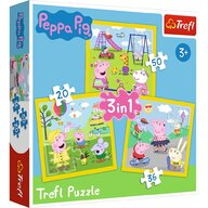 Trefl - Puzzle personaje Peppa pig O zi aniversara 3 in 1 Puzzle Copii, pcs  106, Multicolor