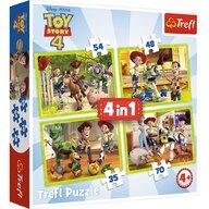 Trefl - Puzzle personaje Eroii Toystory 4 in actiune  4 in 1 Puzzle Copii, pcs  207, Multicolor