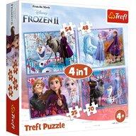 Trefl - Puzzle personaje Frozen 2 Calatorie catre necunoscut  4 in 1 Puzzle Copii, pcs  207, Multicolor