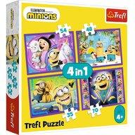 Trefl - Puzzle personaje In lumea minionilor  4 in 1 Puzzle Copii, pcs  207, Multicolor