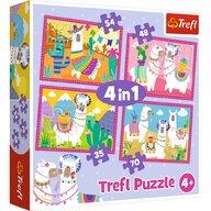 Trefl - Puzzle animale Lama in vacanta  4 in 1 Puzzle Copii, pcs  207, Multicolor