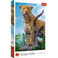 Trefl - Puzzle peisaje Leopard in savana Puzzle Copii, pcs  500, Multicolor