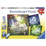 Ravensburger - Puzzle Unicorni, 3x49 piese
