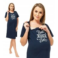 Qmini - Camasa de alaptat, S, Best Mom Ever, Navy Blue