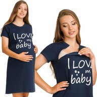 Qmini - Camasa de alaptat, S/M, I love my baby, Navy