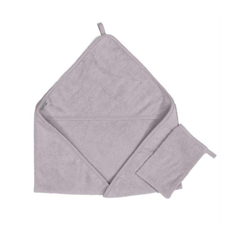 Quax Prosop cu gluga si manusa de baie 100 % bumbac soft grey din categoria Prosopele si halate de la Quax