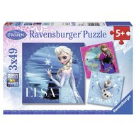 Ravensburger - Puzzle Frozen Elsa, Anna Si Olaf, 3x49 piese