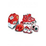 Saica - Role copii reglabile 35-38 Ferrari, cu protectii si casca in ghiozdan