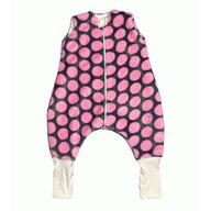 Deseda - Sac de dormit de iarna  cu picioare din cocolino 3-5 ani  Buline roz pe gri