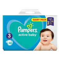 Pampers - Scutece Active Baby 3, Giant Pack, 90 buc