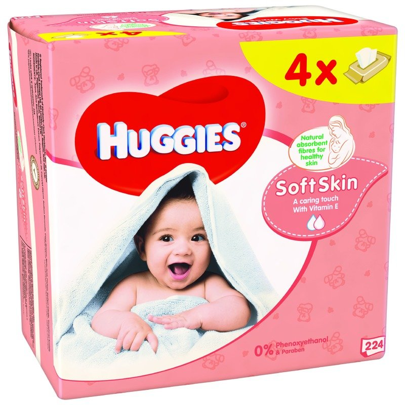 Servetele umede bebelusi Huggies BW Soft Skin Quad (56x4) din categoria Scutece bebelusi de la Huggies
