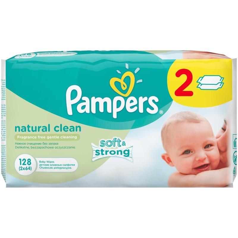 Servetele umede Pampers Natural Clean Duo 2*64buc din categoria Scutece bebelusi de la Pampers