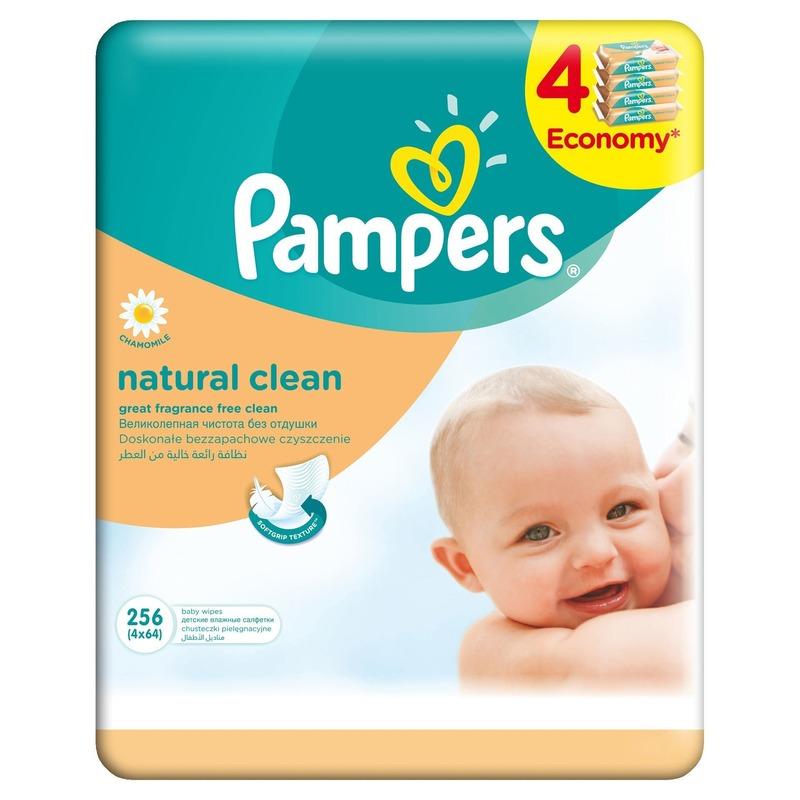 Servetele umede Pampers Natural Clean quattro pack 256 buc din categoria Scutece bebelusi de la Pampers