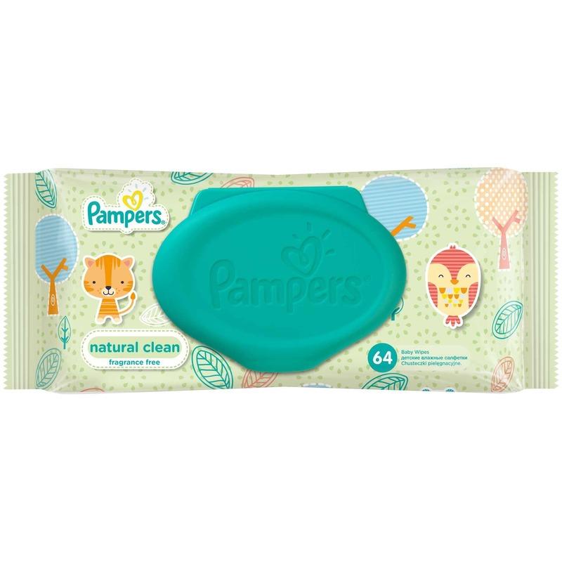 Servetele umede Pampers Natural Clean Single 64buc din categoria Scutece bebelusi de la Pampers