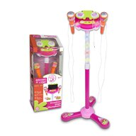 Bontempi - Set 2 microfoane Pentru scena, Cu conectare la telefon si lumini, Roz