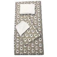 Deseda - Set 3 piese de iarna pat 120x60 cm cu paturica cu cearsaf si pernuta pentru pat  Elefanti gri-bej