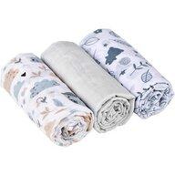 Infantilo - Set Poiana Pastel 3 bucati, Din muselina din Bumbac, 80x70 cm, Scutec textil