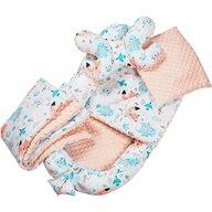 Infantilo - Suport de dormit Minky Ursuleti Cu paturica, Cu 2 perne, Cu saltea cu doua fete Baby Nest, Albastru/Portocaliu