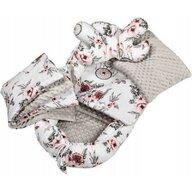 Infantilo - Suport de dormit Minky Roses Cu paturica, Cu 2 perne, Cu saltea cu doua fete Baby Nest, Alb/Gri