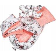 Infantilo - Suport de dormit Minky Roses Cu paturica, Cu 2 perne, Cu saltea cu doua fete Baby Nest, Alb/Portocaliu