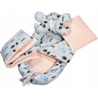 Infantilo - Suport de dormit Minky Deer Cu paturica, Cu 2 perne, Cu saltea cu doua fete Baby Nest, Gri/Portocaliu