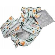 Infantilo - Suport de dormit Minky Forest Cu paturica, Cu 2 perne, Cu saltea cu doua fete Baby Nest, Gri/Portocaliu