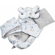 Infantilo - Suport de dormit Minky Poiana Cu paturica, Cu 2 perne, Cu saltea cu doua fete Baby Nest, Gri