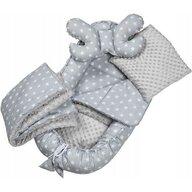 Infantilo - Suport de dormit Minky Stelute Cu paturica, Cu 2 perne, Cu saltea cu doua fete Baby Nest, Gri