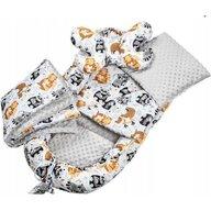 Infantilo - Suport de dormit Minky Wild Animals Cu paturica, Cu 2 perne, Cu saltea cu doua fete Baby Nest, Gri
