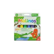 MALINOS - Set creioane retractabile - 6 culori
