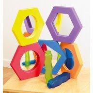 Commotion - Set Oglinzi hexagonale 5 buc, Cu rama de spuma