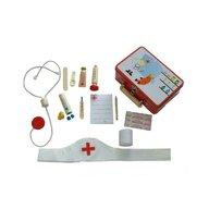 MamaMemo - Set joaca De-a doctorul, in cutie metalica, 16 accesorii,