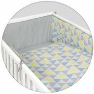 Ceba Baby - Lenjerie 3 piese Triunghiuri din Bumbac, 135x100 cm, Albastru/Galben