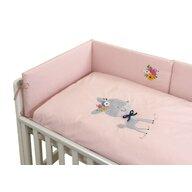 Pj Baby - Lenjerie 3 piese Cu protectie laterala Deery din Bumbac, 120x60 cm, Roz