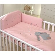AMY - Lenjerie 3 piese Cu protectie laterala Fluffy din Bumbac, 120x60 cm, Roz
