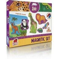 Roter Kafer - Jucarie magnetica Animale de la zoo 19 piese, Cu plansa magnetica inclusa