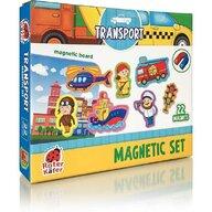 Roter Kafer - Jucarie magnetica Mijloace de Transport 22 piese, Cu plansa magnetica inclusa