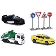 Majorette - Set  Diorama City cu 3 masinute si 4 indicatoare rutiere