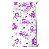 Deseda - Set Paturica bebe cu Cearsaf si Pernuta pt pat 120x60 cm Bufnite cu violet