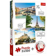 Trefl - Puzzle peisaje Venetia Paris Mont Saint-Michel 3 in 1 Puzzle Copii, pcs  1500, Multicolor