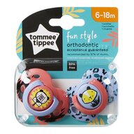 Tommee Tippee - Set suzete ortodontice de zi Fun, 6-18 Luni, 2 buc, Tigru roz/Tigru lila